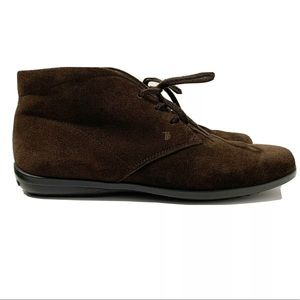 TOD'S Made In Italy Brown Suede Leather Booties 7
